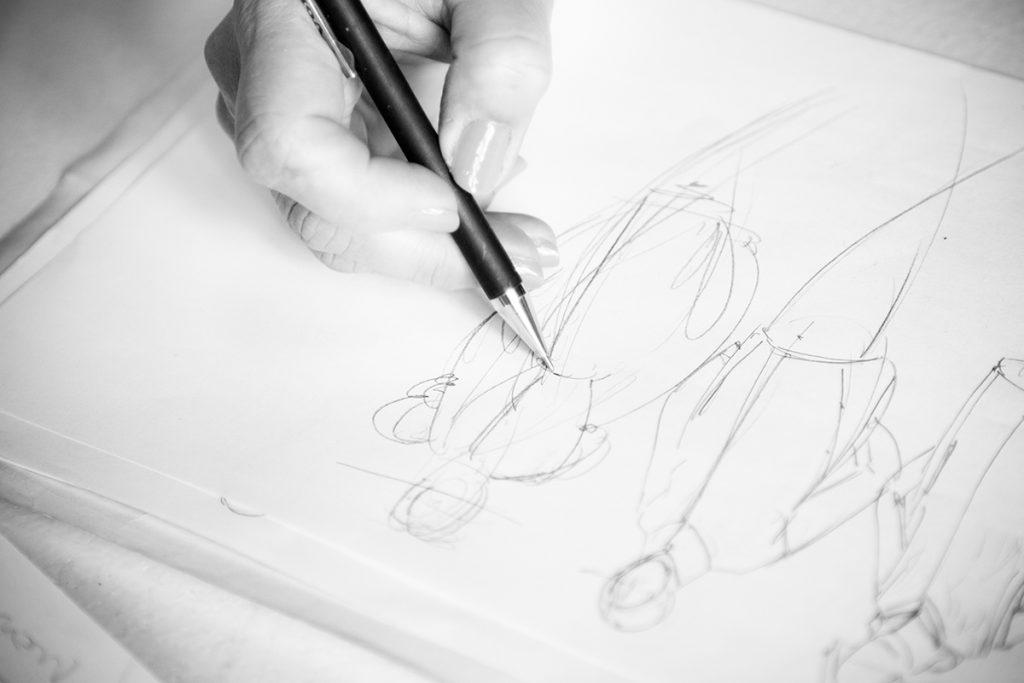 Modeskizze, Bleistiftzeichnung, Illustration