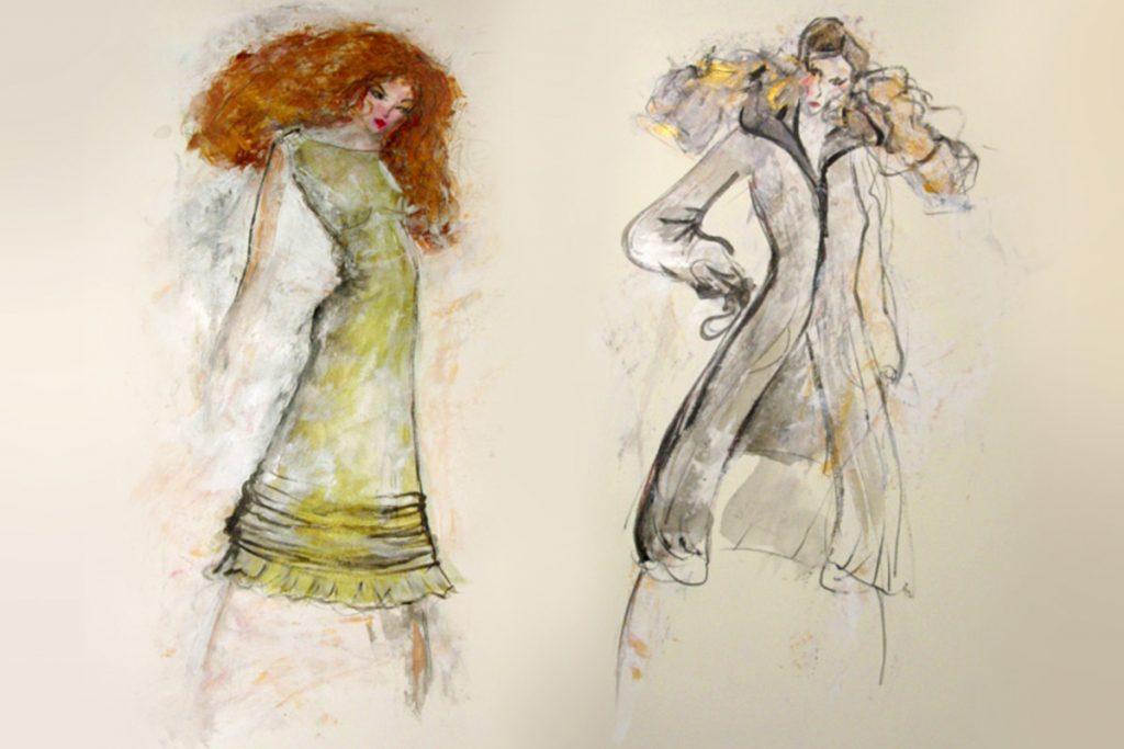 Bunte Modeskizzen für ein grünes Sommerkleid und einem herbstlichen Mantel